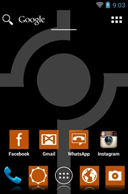 Simple Orange android theme home screen
