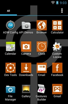 Simple Orange android theme application menu