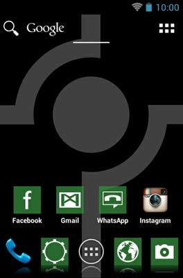 Simple Green android theme home screen