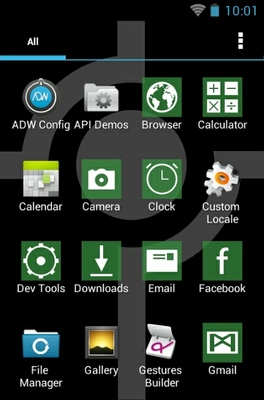 Simple Green android theme application menu