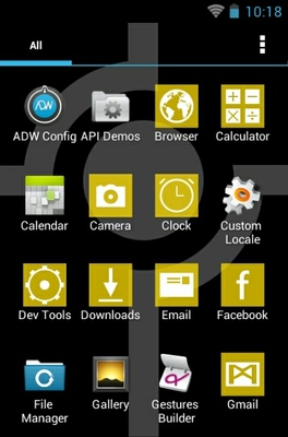 Simple Gold  android theme application menu