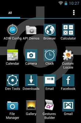 Simple Blue android theme application menu
