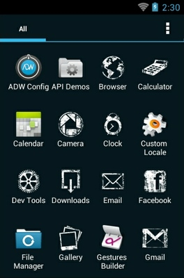 Dark Girl android theme application menu