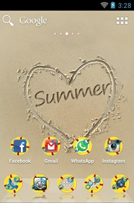 Summer Sand android theme home screen