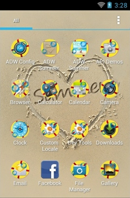 Summer Sand android theme application menu