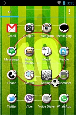 Football android theme application menu