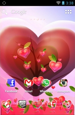Valentine Heart android theme home screen