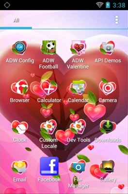 Valentine Heart android theme application menu