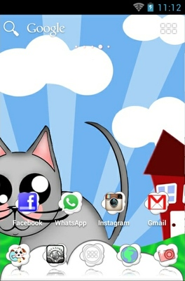 Cute Animals android theme home screen