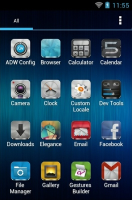 Metal Free android theme application menu