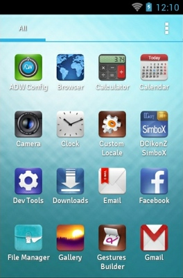 SimboX android theme application menu