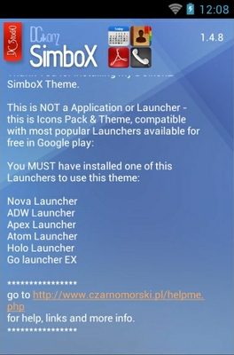 SimboX android theme launcher menu