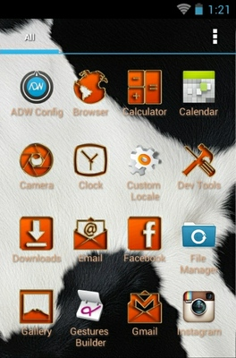 Animalier  android theme application menu