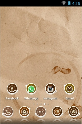 Coffee Cup android theme home screen