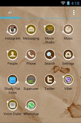 Coffee Cup android theme application menu