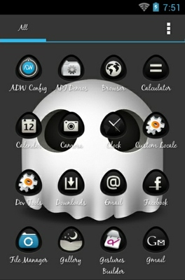 The Ghost android theme application menu