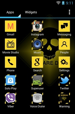 Warning android theme application menu