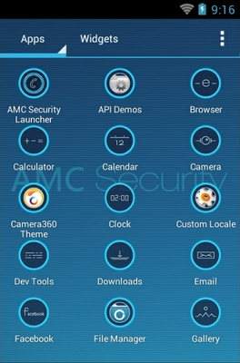 AMC Security android theme application menu
