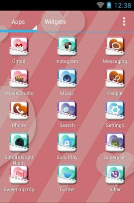 Sweet Trip android theme launcher menu