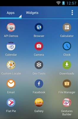 Flat Pie android theme application menu