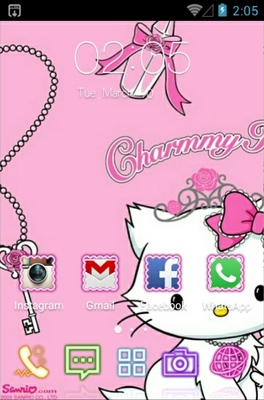 Charmmy Kitty android theme home screen