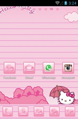 Hello Kitty Pink android theme home screen