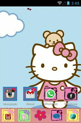 Hello Kitty android theme home screen