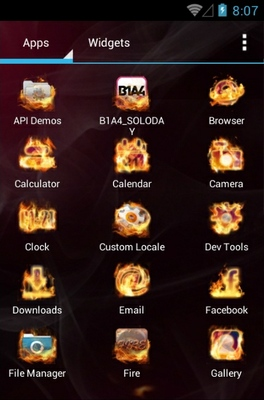 Fire android theme application menu