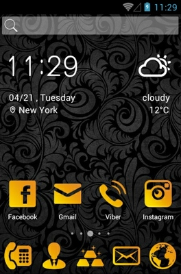 Gold Style android theme home screen