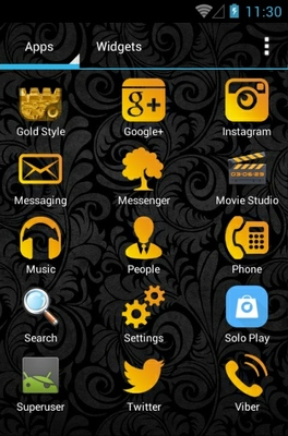 Gold Style android theme application menu