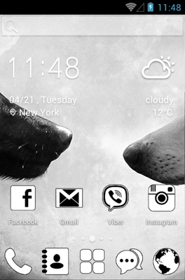 Black and White android theme home screen