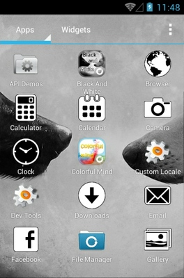 Black and White android theme application menu