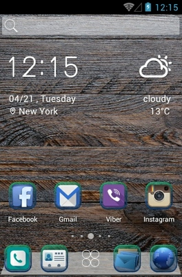 Wood Perina android theme home screen