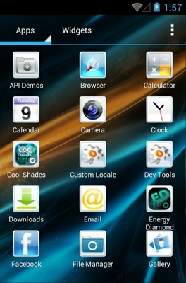 Cool Shades android theme application menu