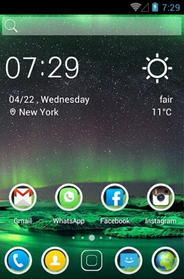 Northern Lights android theme home screen