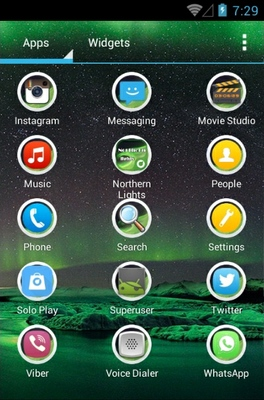 Northern Lights android theme application menu