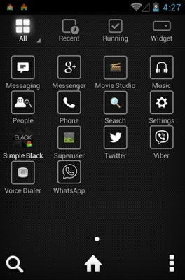Black Label Design android theme application menu