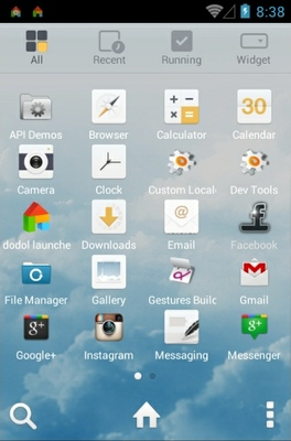 Sky Dream android theme application menu