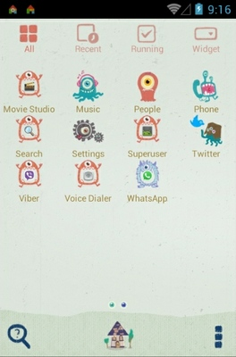 Monster android theme application menu