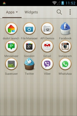 Sweet Cupcake android theme application menu