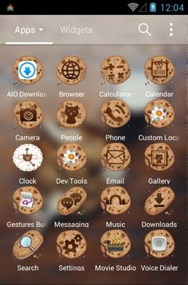 Chocochip Cookies android theme application menu