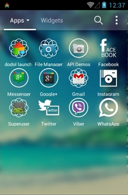Another Sky android theme application menu