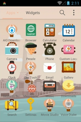 Exciting Paris android theme application menu