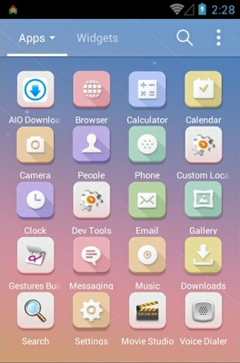 Simple Pastel Sky android theme application menu