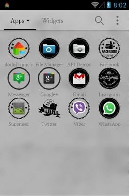 Stamp Black android theme application menu
