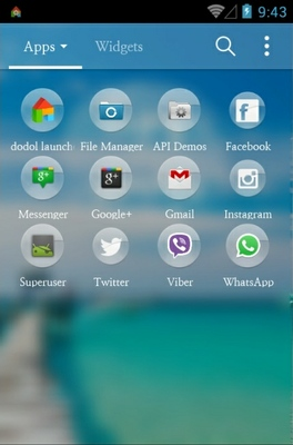 Summer Moment android theme application menu
