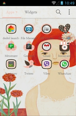 Red Haired Girl android theme application menu
