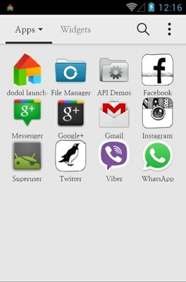 Simple Penguin android theme application menu