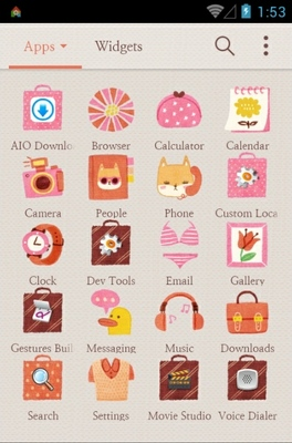 Daily Sweetie android theme application menu
