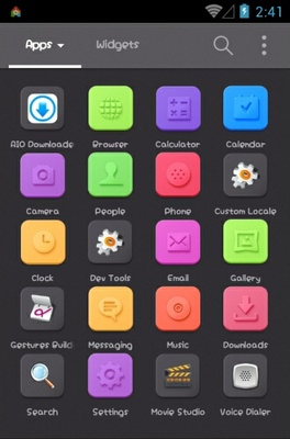 Black N Vivid android theme application menu